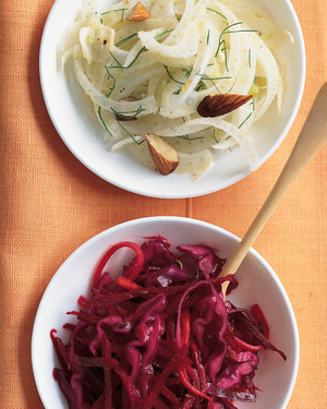 Beet, Cabbage, and Carrot Slaw with Caraway Seeds