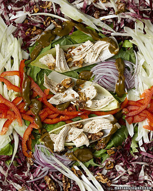 Thin-Sliced Vegetable Salad with Walnuts, Chicken, and Basil Balsamic Vinaigrette