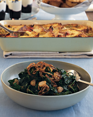 Wilted Baby Spinach with Crispy Shallots