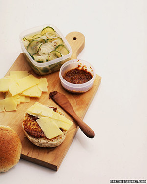 Cheddar Sandwiches with Quick Pickles and Honey-Mustard Spread