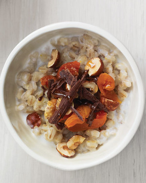 Barley with Apricots, Hazelnuts, Chocolate, and Honey