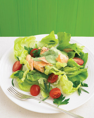 Butter Lettuce Salad with Poached Salmon and Herbs
