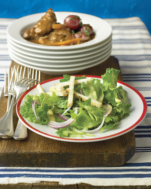 Salad with Celery, Red Onion, and Croutons