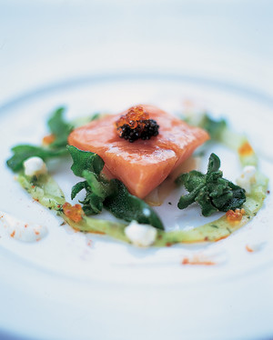 Confit of Wild Salmon on Cucumber Salad with Horseradish Sauce