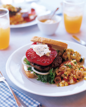 Grilled Burgers with Maytag Blue Cheese and Heirloom Tomatoes