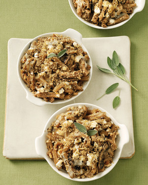 Individual Farro-Pasta Gratins with Goat Cheese, Sage, and Mushrooms
