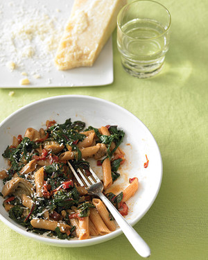 Whole-Wheat Penne with Sausage, Chard, and Artichoke Hearts