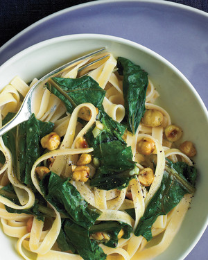 Pasta with Beet Greens, Blue Cheese, and Hazelnuts
