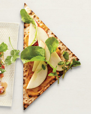 Apple, Peanut Butter, and Chili Paste on Lavash