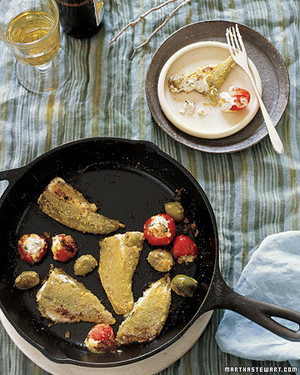 Pan-Fried Olives and Chiles Stuffed with Goat Cheese
