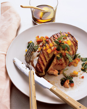 Grilled Salmon with Spicy Honey-Basil Sauce