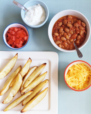 Roasted Potato Wedges and Chili