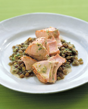 Roasted Salmon With Lentils
