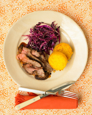 Chili-Rubbed Flank Steak With Cabbage Salad And Polenta Rounds