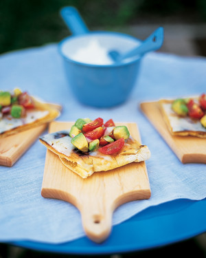 Grilled Pizzas with Tomato, Avocado, and Pepper Jack Cheese