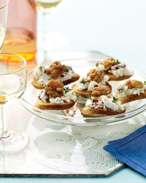 Goat Cheese, Cranberry, and Walnut Canapes