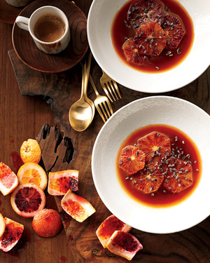 Blood Oranges with Caramel Sauce and Cocoa Nibs