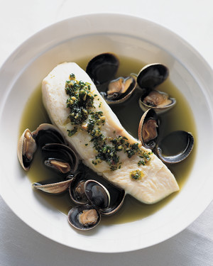 Halibut and Cockles in Herb Broth