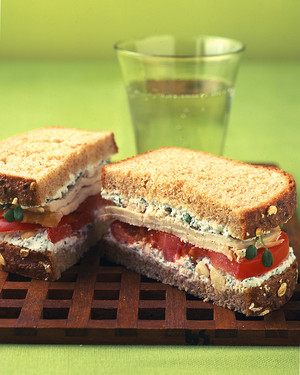 Turkey Sandwich With Herbed Farmer Cheese, Sprouts, and Tomato