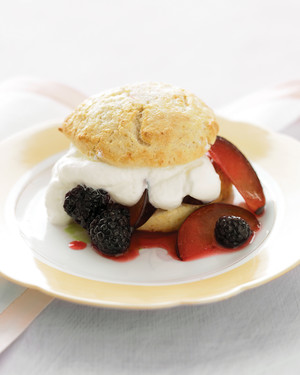 Gingered Blackberry and Black Plum Shortcakes