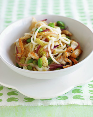 chicken stir-fry with noodles and edamame