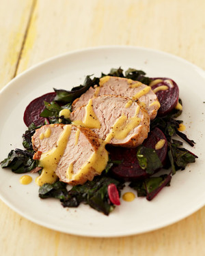 Pork Tenderloin with Roasted Beets and Greens
