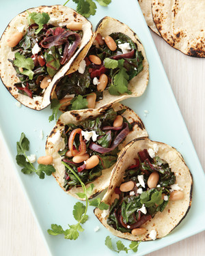Beans-and-Greens Tacos with Goat Cheese