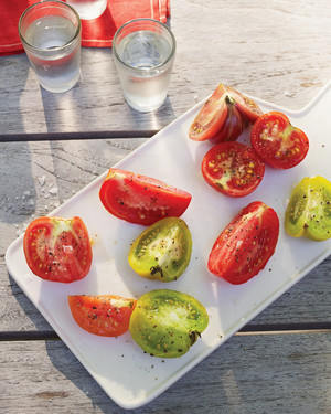 Tomato Wedges with Flaked Sea Salt, Pepper, and Chilled Vodka