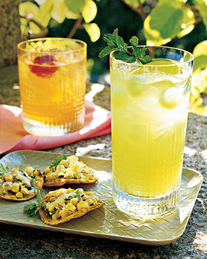 Honeydew Mojitos with Melon Balls and Mint