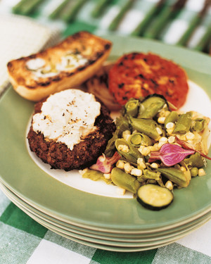 Grilled Hamburgers with Goat Cheese