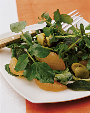 Watercress Salad with Grapefruit, Olives, and Fried Sage