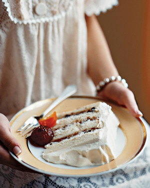 White Cake with Mincemeat Filling and Glaceed Fruit