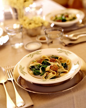 Turkey-Meatball Soup with Escarole and Pappardelle