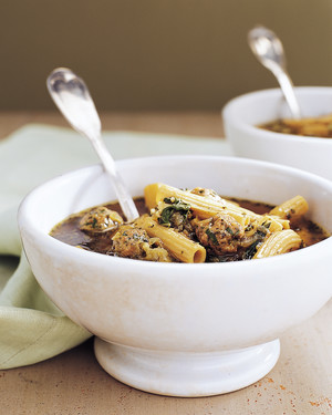 Swiss Chard, Cabbage, and Turkey Meatball Soup