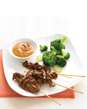 Beef Satay with Peanut Sauce and Citrus Broccoli