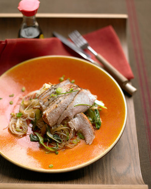 Pork Chops with Bok Choy and Rice Noodles