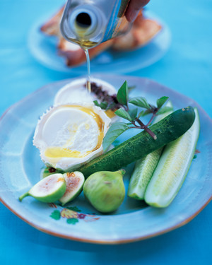 Bucheron with Cucumbers, Basil, and Figs