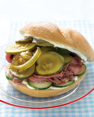 Roast Beef Sandwiches with Cucumbers and Pickles