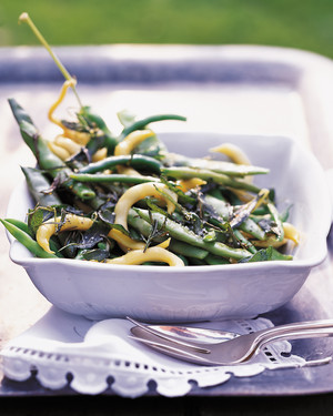 Mixed Beans with Crisp Rosemary and Sage Leaves