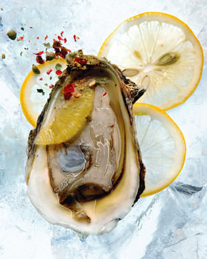 Oysters with Meyer Lemons and Cracked Peppercorns