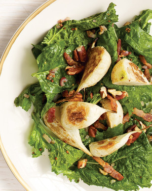 Turnip and Baby Spinach Salad with Warm Bacon Vinaigrette