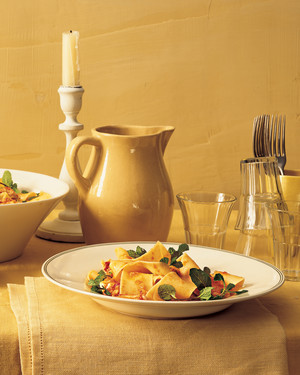 Pappardelle with Lobster, Spicy Tomato Sauce, and Mint
