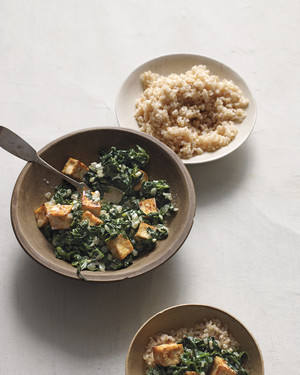 Indian-Spiced Tofu with Wilted Spinach and Yogurt