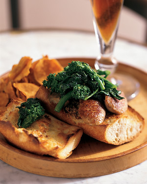 Boudin Blanc with Broccoli Rabe and Grainy Mustard