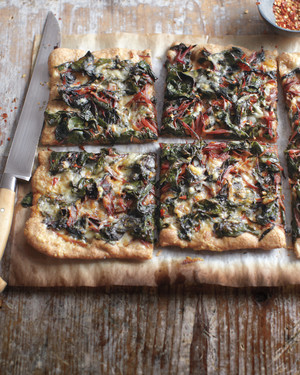 Swiss Chard, Garlic, and Gruyere Pizza