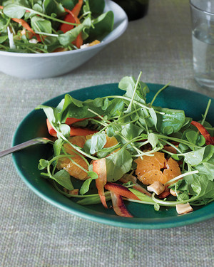 Shaved Carrots, Watercress, and Cashews with Orange Vinaigrette