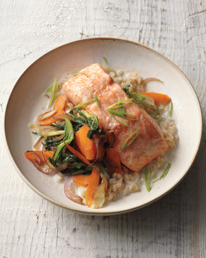 Baked Salmon with Coconut Broth