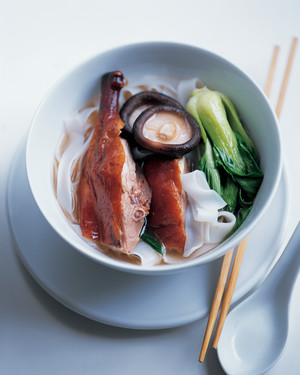 Chinese Duck with Shiitake Mushrooms and Wide Rice Sticks