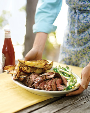 Grilled Flank Steak with Scallions