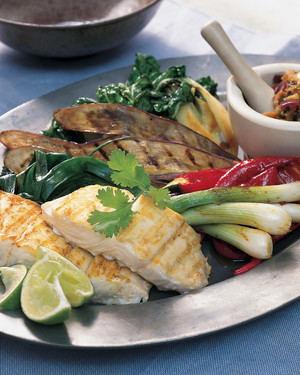Thai Nam Prik with Grilled Fish and Vegetables
